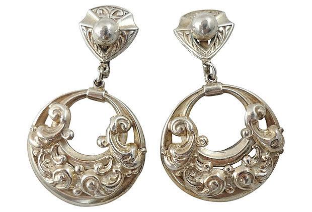 1950s Napier Book Piece Silvertone Hoop Earrings