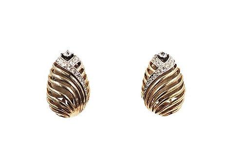 1950s Boucher Rhinestone Tulip Earrings