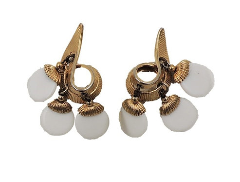 1950s Napier Book Piece White Resin Dangle Clip Earrings