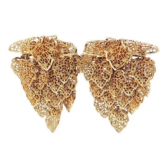 1970s Napier Goldtone Leaves Earrings
