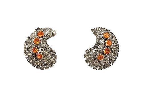 1960s Schiaparelli Rhodium Plate Rhinestone Earrings