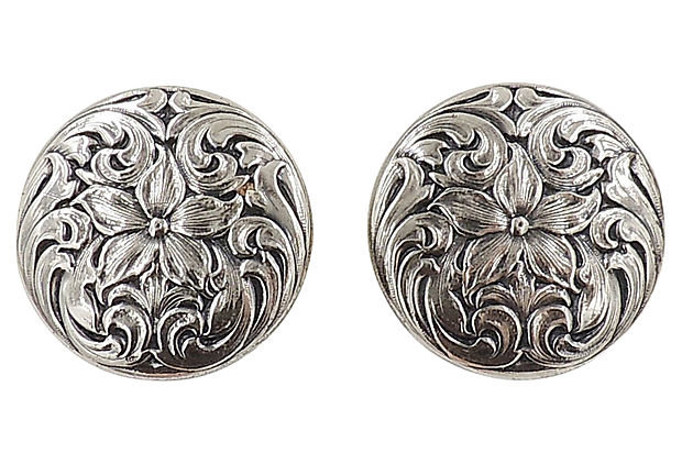 1960s Napier Silvertone Floral Earrings