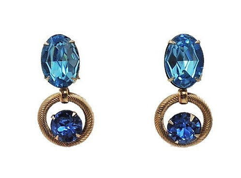 1950s Napier Book Piece Faux-Aquamarine & Sapphire Clip Earrings