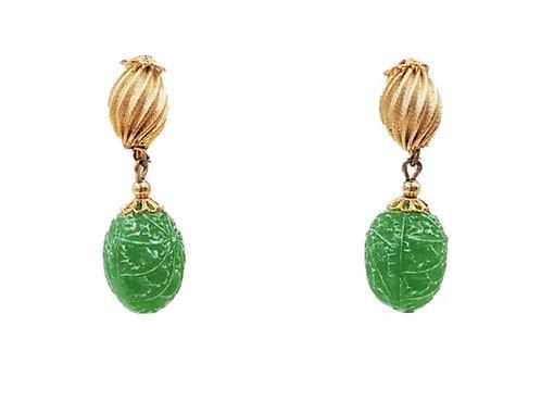 1950s Napier Green Drop Earrings