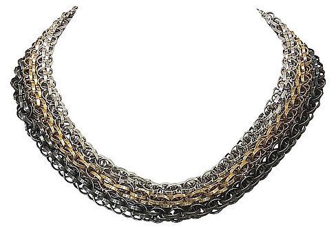 Napier Book Piece Tri-Tone 3-Strand Necklace, 1967