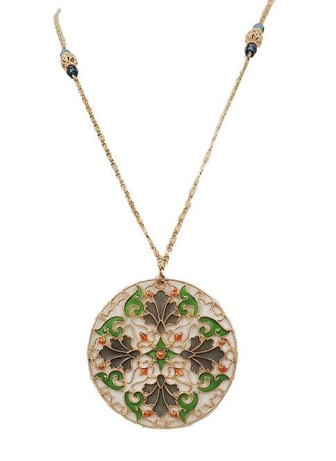 Rare 1970s Napier Plique-a-Jour Pendant Necklace