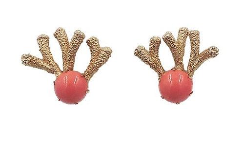 1960s Napier Cabochon Faux-Coral Earrings