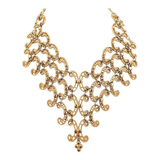 Monet Goldtone Articulated Bib Necklace, 1972 Ad Piece
