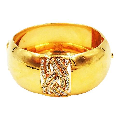1980s Bijoux Cascio Italy Goldtone Rhinestone Cuff Bracelet