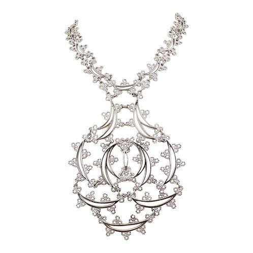 Monet Book Piece Rhodium Plate Articulated Necklace, 1973