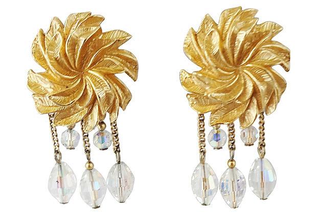 1960s Napier Aurora Borealis Beaded Drop Earrings