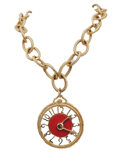 1970s Signed Ledo Red Clock Pendant Necklace