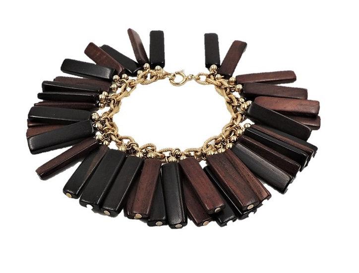 1960s Napier Goldtone & Walnut Charm Bracelet