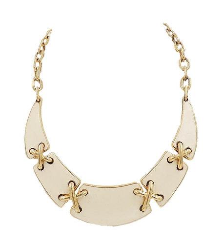 Monet White Enamel X Connecters Bib Necklace