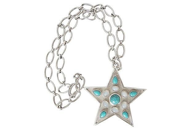 1970s Trifari Star Rhinestone Pendant Necklace