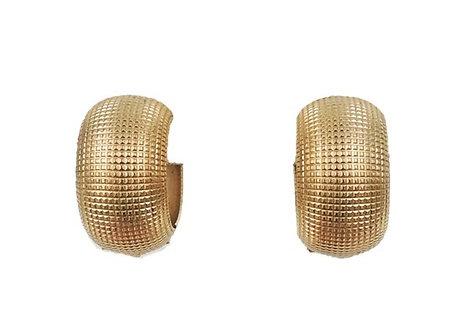 1970s Napier Goldtone Textured Hoop Clip Earrings