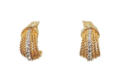 Late 1950s Boucher Clear Rhinestone Half Hoop Clip Earrings