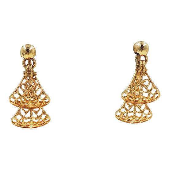 1960s Napier Goldtone Filigree Drop Earrings