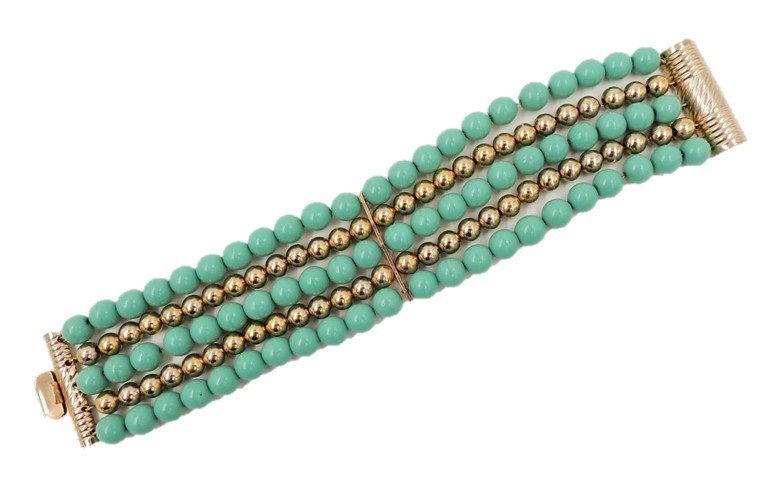 1950s Napier Goldtone & Faux-Turquoise Beaded Bracelet