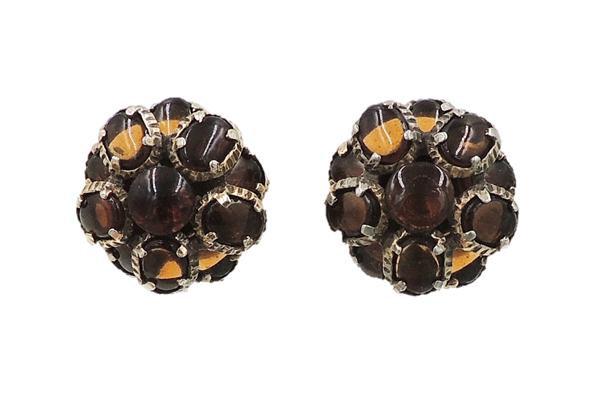 "1960s Trifari ""Renaissance"" Faux-Topaz Rhinestone Earrings"