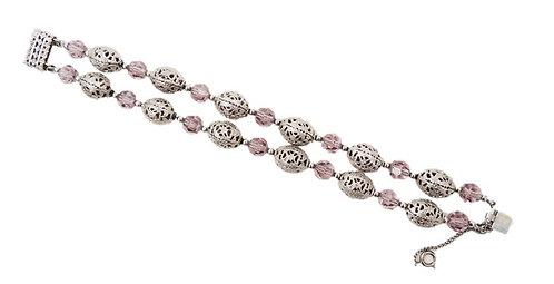 1950s Napier Silvertone & Faux-Amethyst Beaded Bracelet