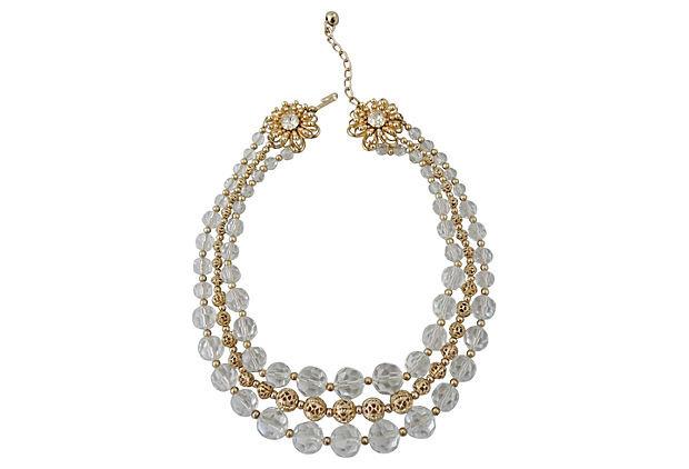 1950s Napier Flower Glass Beaded Necklace