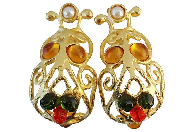 1980s Deanna Hamro Rhinestone Cabochon Earrings