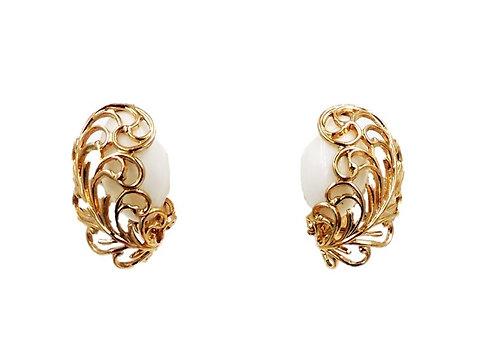 1950s Napier White Filigree Earrings