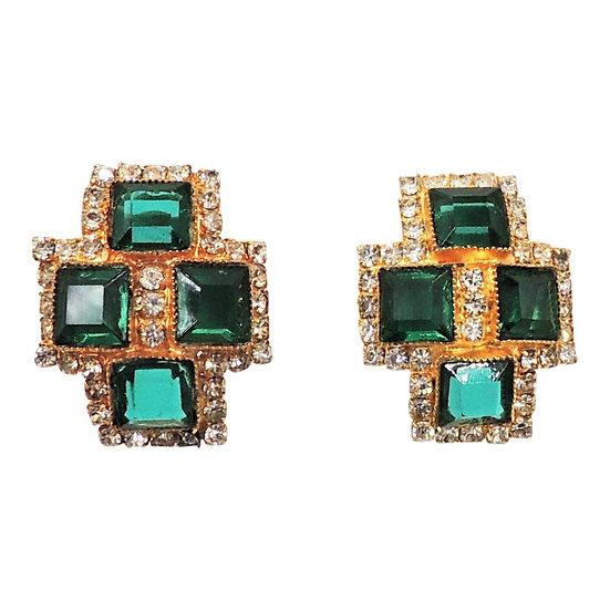 1970s DeLillo Faux-Emerald & Clear Rhinestone Earrings