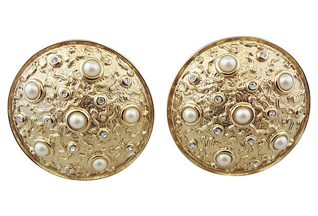1980s Guy Laroche Faux-Pearl Earrings