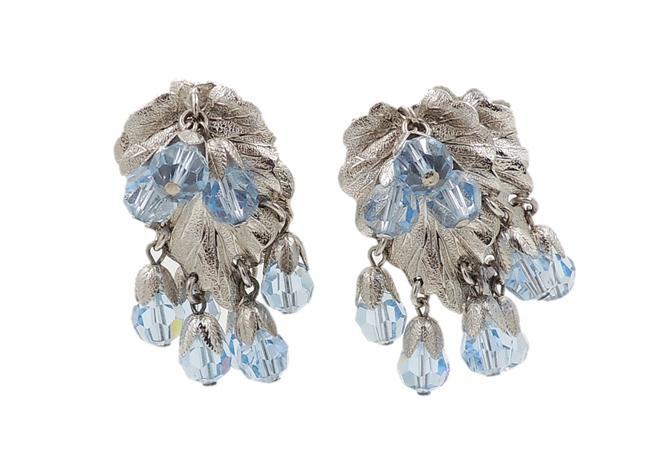 Napier Silvertone Leaves & Blue Beaded Earrings