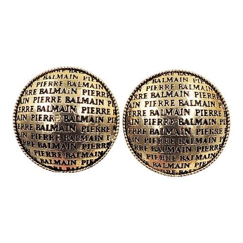 Circa 1990s Signed Pierre Balmain Paris Round Enamel Earrings