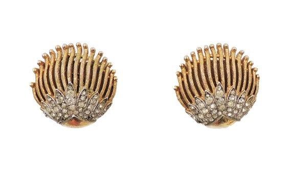 Trifari Goldtone & Clear Rhinestone Clip Earrings, 1964 Vogue Ad Piece