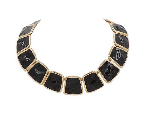 Monet Ad Piece Black Enamel Collar Necklace, 1972