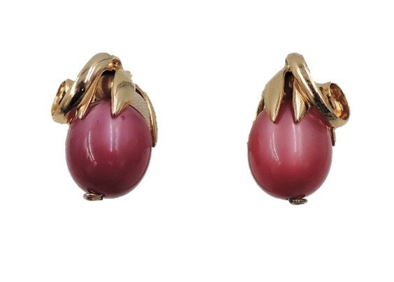 1950s Signed Napier Goldtone & Red Moonglow Cumquat Earrings