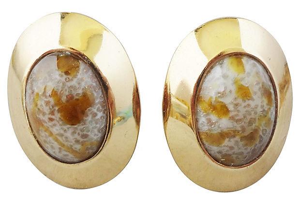 1960s Napier Cabochon Faux-Agate Rhinestone Earrings