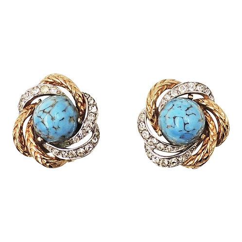 Boucher Goldtone Cabochon Faux-Turquoise Earrings Vogue Ad Piece 1956