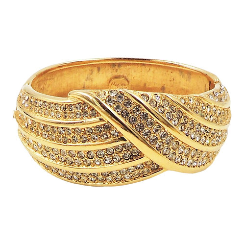 Napier Goldtone Pavé Rhinestone Cuff Bracelet, 1988