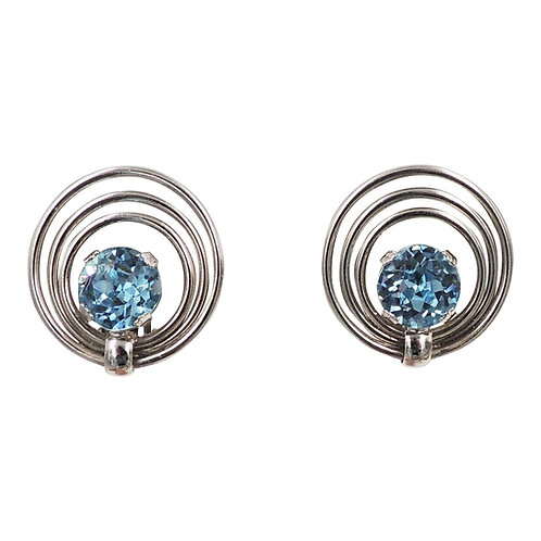 1950s Napier Rhodium Plated Faux-Aquamarine Earrings