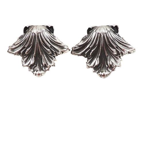 Napier Book Piece Silvertone Leaves Earrings, 1968