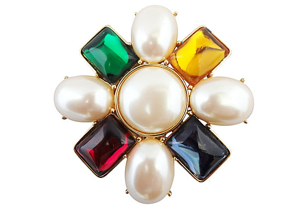1980s Monet Faux-Pearl Brooch