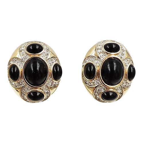 1980s Panetta Cabochon Faux-Onyx & Clear Rhinestone Earrings