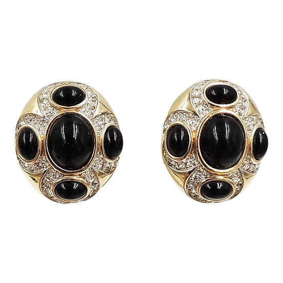 1980s Panetta Cabochon Faux-Onyx & Clear Rhinestone Earrings
