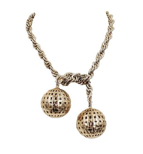 Monet Book Piece Ball Lariat Necklace, 1954 Ad Piece