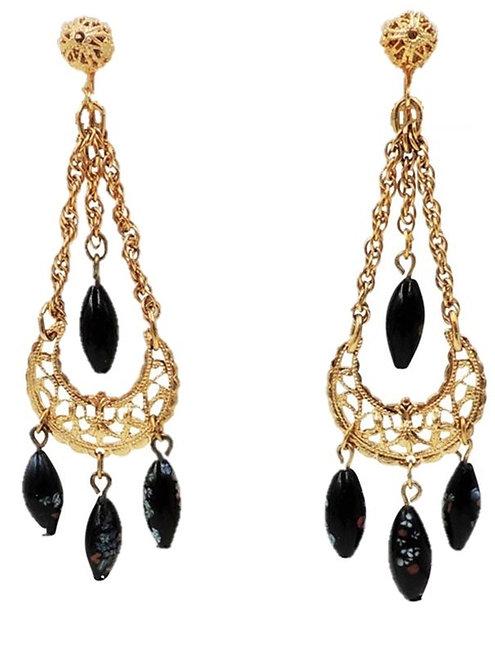 1970s Napier Goldtone & Black Speckled Art Glass Drop Chandelier Clip Earrings