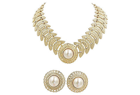 1980s Goldtone Faux-Pearl Necklace & Earrings