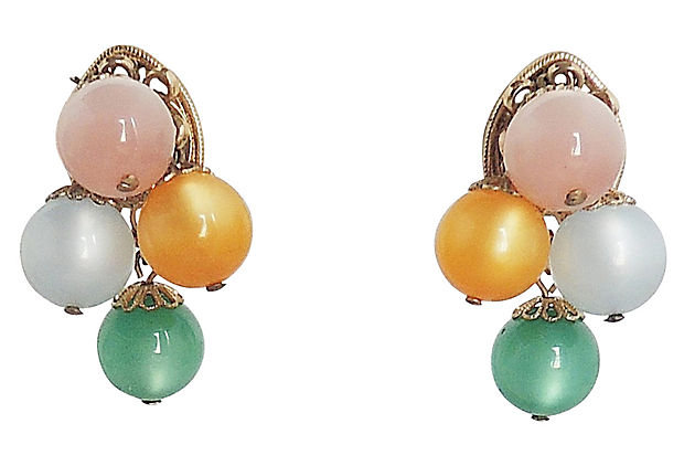 1960s Napier Pastel Moonglow Bead Earrings