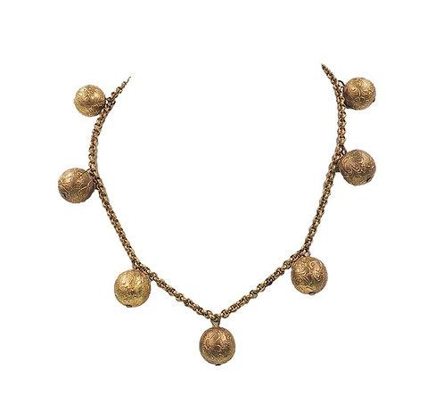 "Monet ""Hindu Bells"" Ad & Book Piece Necklace, 1937"