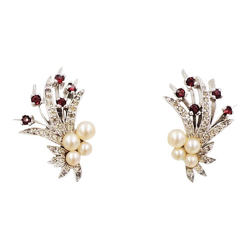 Panetta Rhodium Plated Faux-Pearl & Rhinestone Earrings