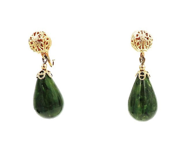 Napier Green Bakelite Drop Earrings